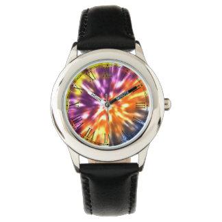 Hippy Peace Retro Tie Dye Colorful Boho Wrist Watches