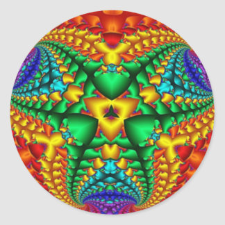 Hippy Rainbow Psychedelic Fractal Classic Round Sticker