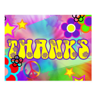 Hippy rainbow retro thank you card