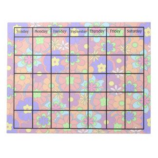 Hippy Retro Mod Flower Blank Calendar Notepads
