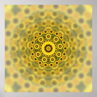 Hippy Sunflower Fractal Mandala Pattern Poster