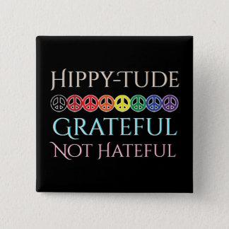 Hippy Tude Grateful Peace Signs 15 Cm Square Badge