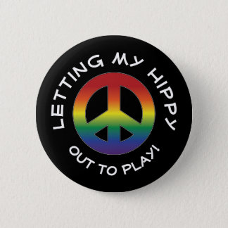 Hippytude Attitude Playful with Prism Peace Sign 6 Cm Round Badge