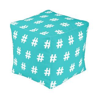 Hipstar Hashtag Blue Cubed Pouf