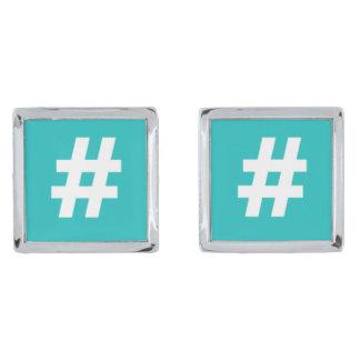 Hipstar Hashtag Blue Cufflinks Silver Finish Cuff Links