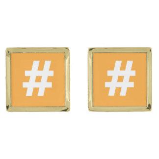 Hipstar Hashtag Orange Cufflinks Gold Finish Cufflinks