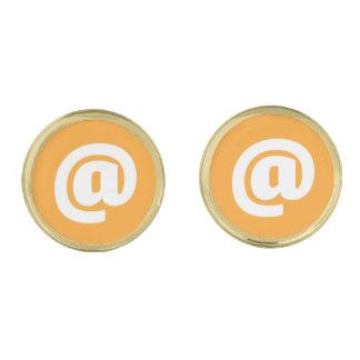 Hipstar @ Orange Cufflinks Gold Finish Cufflinks