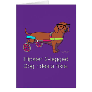 Hipster 2-legged Dog Note Card