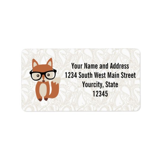 Hipster Baby Fox w/Glasses Address Label