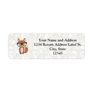 Hipster Baby Fox w/Glasses Return Address Label