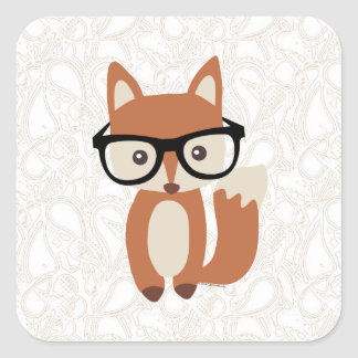 Hipster Baby Fox w/Glasses Square Sticker