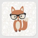 Hipster Baby Fox w/Glasses Square Stickers