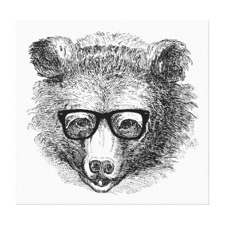 Hipster Bear Stretched Canvas Prints