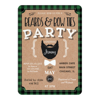 Hipster beards bow ties baby shower vintage invite