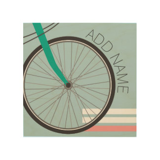 Hipster Bicycle Wheel with Custom Name Wood Canvases