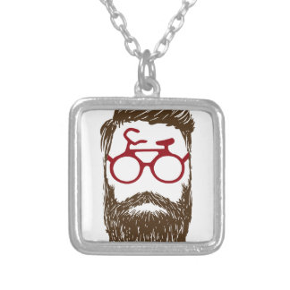 Hipster biker silver plated necklace