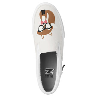 Hipster Brown Fox Slip-On Shoes