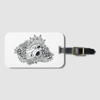 Hipster Camera Doodle Luggage Tag