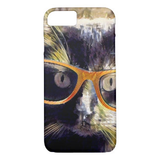 Hipster Cat, Amber glasses! iPhone 8/7 Case