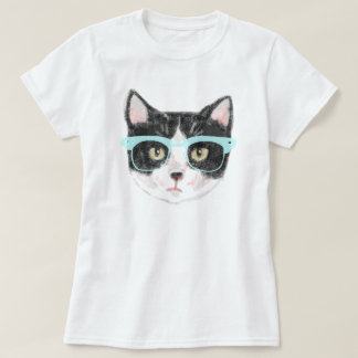 Hipster Cat (Black and White) T-Shirt