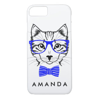Hipster Cat blue add your name iPhone 8/7 Case