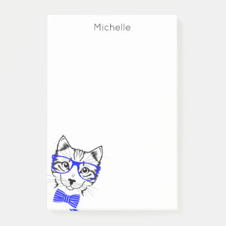 Hipster Cat blue add your name Post-it Notes