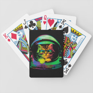 Hipster cat - Cat astronaut - space cat Bicycle Playing Cards