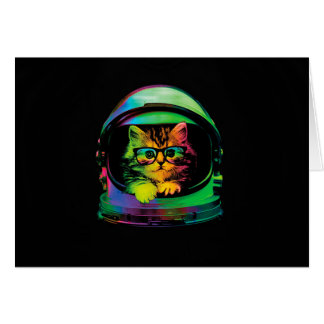 Hipster cat - Cat astronaut - space cat Card