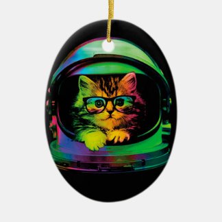 Hipster cat - Cat astronaut - space cat Ceramic Ornament