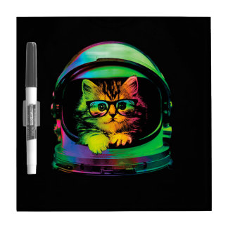 Hipster cat - Cat astronaut - space cat Dry Erase Board