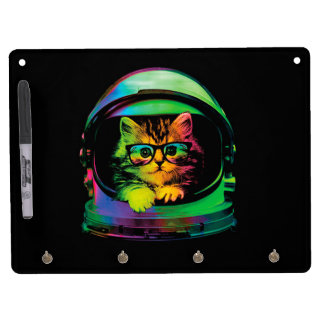 Hipster cat - Cat astronaut - space cat Dry Erase Board With Key Ring Holder