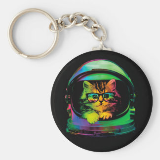 Hipster cat - Cat astronaut - space cat Key Ring