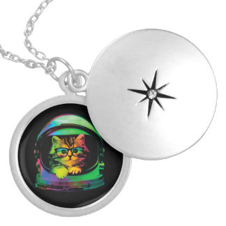 Hipster cat - Cat astronaut - space cat Locket Necklace