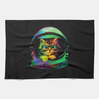 Hipster cat - Cat astronaut - space cat Tea Towel