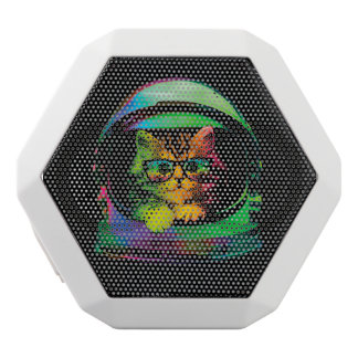Hipster cat - Cat astronaut - space cat White Bluetooth Speaker
