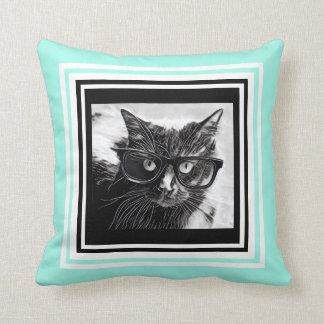 Hipster Cat in Glasses; Black & White on Aqua Cushion