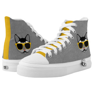 Hipster Cat in Gray and Yellow with Denim Look Printed Shoes
