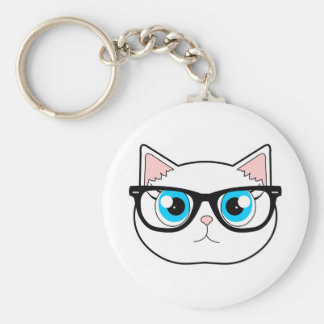 Hipster Cat Key Ring