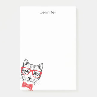 Hipster Cat red add your name Post-it Notes