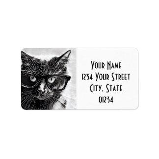 Hipster Cat Return Address, Black Cat in Glasses Label