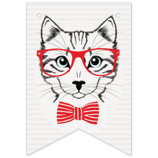 Hipster Cat with Fancy Red Bow. Bunting