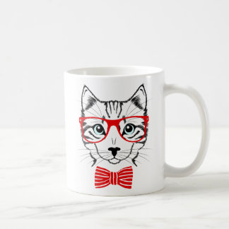 Hipster Cat with Glasses & Bowtie Coffee Mug
