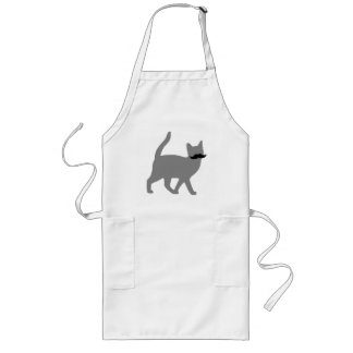 Hipster Cat with Moustache Long Apron