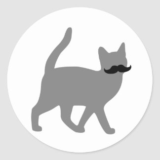 Hipster Cat with Moustache Round Sticker