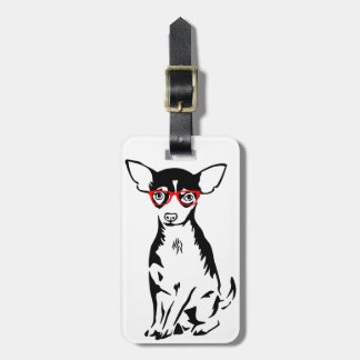 Hipster Chihuahua Red Glasses Luggage Tag