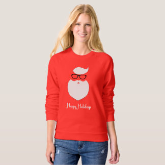Hipster Christmas Happy Holidays Womens Sweatshirt