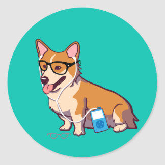 Hipster Corgi Stickers