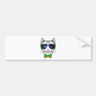 Hipster Cosmos Cat Kitten Space Bumper Sticker