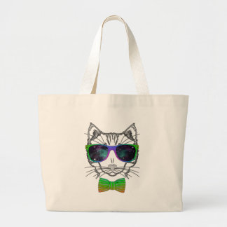 Hipster Cosmos Cat Kitten Space Large Tote Bag