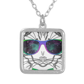 Hipster Cosmos Cat Kitten Space Silver Plated Necklace
